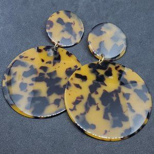 Plastic Tortoise Shell Stud Earrings Drop Dangle